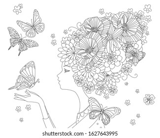 portrait of fashion lady with bizarre floral hairstyle holding butterfly for your coloring book