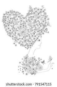 portrait of fashion woman with floral heart for your coloring book