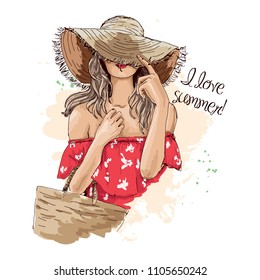 Portrait of fashionable woman in hat with beach bag. Beautiful young woman in summer clothes covers her face with a hat. Stylish girl in a hat. Hand drawn sketch. Vector illustration of fashion. - Shutterstock ID 1105650242