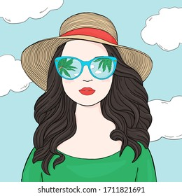 Portrait of a fashionable woman with long dark hair, mirrored glasses and a summer hat. The glasses reflect the sky and the palm tree. Colorful vector illustration in sketch style. Hand-drawn.