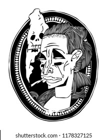 Portrait of a Fatal Wife. Black and white illustration on a poster and on a T-shirt....