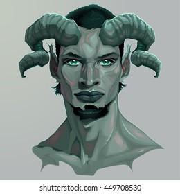 Portrait of a faun. Vector illustration