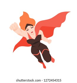 Portrait of flying superheroine. Redhead woman with super powers isolated on white background. Strong comic character wearing bodysuit and cape. Flat cartoon colored vector illustration.
