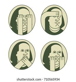 portrait  Franklin OMG set. Oh my god Benjamin Franklin. Vector illustration