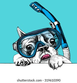 Portrait of a French Bulldog in diving mask with tube on blue background. Vector illustration.