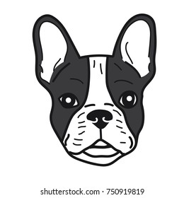 portrait of french bulldog doodle on White Background,Vector illustration