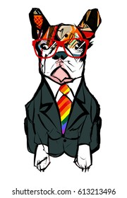 Portrait of french bulldog wearing glasses - Vector illustration