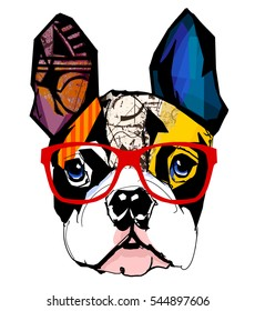 Portrait of french bulldog wearing sunglasses - Vector illustration