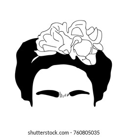 Portrait of Frida Kahlo, Mexican painter. Black and white illustration.
