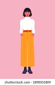 Portrait of a full-length Hispanic woman. Trendy casual outfit. Vector flat illustration
