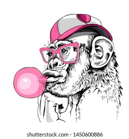 Portrait of a Fun Monkey in a cap, glasses and with a pink bubble gum. Humor card, t-shirt composition, hand drawn style print. Vector illustration.