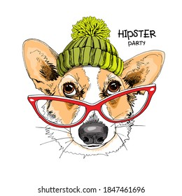 Portrait of the funny Corgi dog in the knitted cap with pompom and in the glasses. Humor card, t-shirt composition, hand drawn style print. Vector illustration.