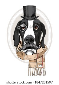 Portrait of the funny Great Dane dog with a mustache in the gentleman top hat, checkered scarf and with monocle. Humor card, t-shirt composition, hand drawn style print. Vector illustration.