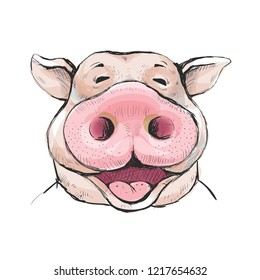 Portrait of a funny laugh boar with a big snout. Ears stick out. Watercolor style illustration