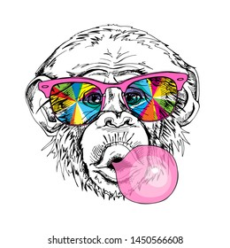 Portrait of a Funny Monkey in a rainbow glasses and with a pink bubble gum. Humor card, t-shirt composition, hand drawn style print. Vector illustration.