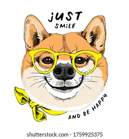 Portrait of the funny Shiba Inu dog in the yellow glasses. Humor card, t-shirt composition, hand drawn style print. Vector illustration.