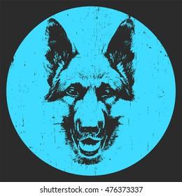 Portrait of German Shepherd. Hand-drawn illustration. T-shirt design. Vector