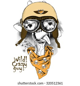 Portrait of a giraffe wearing the retro motorcyclist helmet and neckerchief with images a skull. Vector illustration.