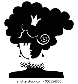 Portrait girl. Black and white. Illustration