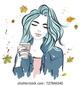 Portrait of a girl with blue hair, who has coffee in her hands in a paper glass on the background of autumn leaves and watercolor drops. Sketch. Hand drawn vector illustration on a white background.