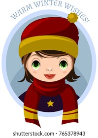 Portrait of girl with dark hair. Girl dressed in winter clothes. Vector.