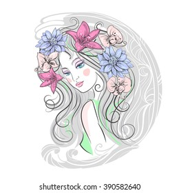 portrait of a girl with flowers in her hair. Isolated vector
