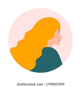 Portrait of a girl with long blonde hair in side view. Woman avatar profile flat design. Vector illustration