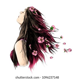 portrait of a girl with pink flowing hair with flowers in her head, sketch vector graphics color drawing