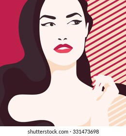 Portrait of a girl in the style of fashion. Vector graphics