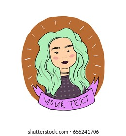Portrait of a girl with turquoise hair and ribbon for your text.