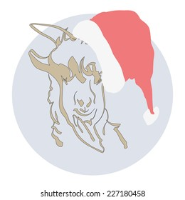 Portrait of a goat in the New Year hat .Vector illustration.