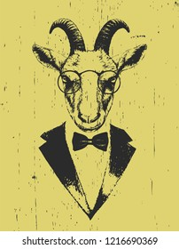 Portrait of Goat in suit. Hand-drawn illustration. Vector