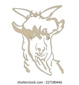Portrait of the goat. Vector illustration.