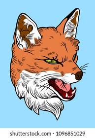 A portrait of a grim fox in an old cheek tattoo style