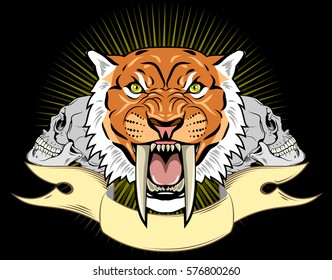 Portrait of a grin, the saber-toothed tiger on the background of a banner, skulls