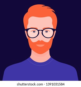 Portrait of a handsome guy. Avatar of a young man. Colorful portrait. Vector flat illustration