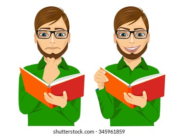 portrait of handsome man with glasses focused reading interesting book with hand on chin and smiling