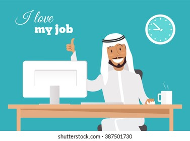 Portrait of handsome relaxed arabic businessman at his desk doing thumb up sign and smiling. I love my job concept.