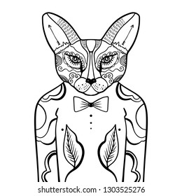 Portrait of handsome stylish casual dandy fox hipster. Sketch doodle style illustration. Coloring page element. Vector EPS clipart