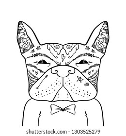 Portrait of handsome stylish casual dandy dog hipster. French bulldog. Sketch doodle style illustration. Coloring page element. Vector EPS clipart