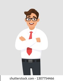 Portrait of handsome young man in white shirt and red tie keeping arms crossed, with eyeglasses. Businessman standing with folded arms pose against gray/grey background in vector cartoon illustration.