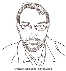 Portrait of handsome young unshaven man with happy eyes in glasses with smart, satisfied, successful and enlightened look, Hand drawn isolated vector sketch