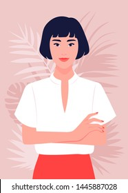 Portrait of a happy Asian girl with arms crossed. Woman in the office. Vector flat illustration