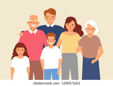 Portrait of happy family with grandfather, grandmother, father, mother, child girl and boy standing together. Cute funny smiling cartoon characters. Colorful vector illustration in flat style.