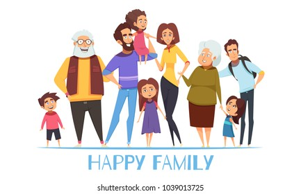 Portrait of happy family with grandparents, mom and dad, kids, uncle on white background vector illustration