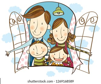 Portrait of happy family looking out of window
