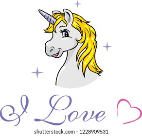 Portrait of a happy gray unicorn. Vector