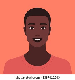 Portrait of a happy guy. Avatar of a smiling young man. Vector flat illustration