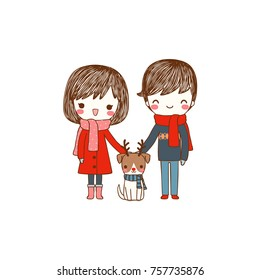 Portrait of happy lovely young couple. Cute boy and girl in winter clothes smiling and standing with their dog. Isolated on white background. Flat design. Colored vector illustration.