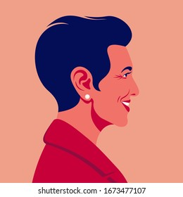 Portrait of a happy middle-aged woman. Face profile. Office professions. Avatar. Vector flat illustration